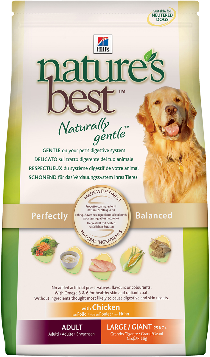 Hill's Сухой корм для собак крупных и гигантских пород Hills Nature's Best Naturally Gentle Canine Adult Large/Giant курица и овощи 12кг, пакет 4865р